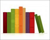 Fila de libros sobre fondos blancos