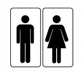 stock photo of female toilet  - man woman sign - JPG