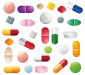 Set with different pills. Vector