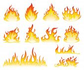 stock photo of flames  - Flame symbols - JPG