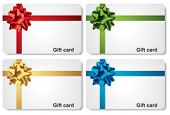Set of gift cards with gift bows