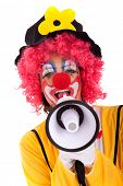 loud funny message from a clown with a megaphone (isolated on whites)