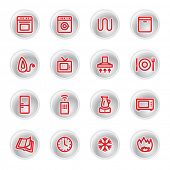 red household appliances icons