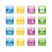 Aqua image viewer icons. Vector file has layers, all icons in four versions are included.