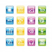 Aqua media icons. Vector file has layers, all icons in four versions are included.