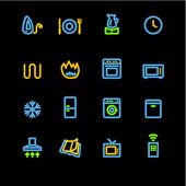 neon household appliances icons