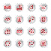 ícones da música vermelho (raster)