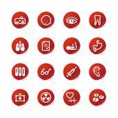 ícones de medicina autocolante vermelho