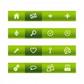 Green bar web icons. Vector file has layers, all icons in two versions are included.
