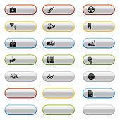 Brilhante botões com ícones de medicina