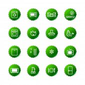 green household appliances icons