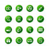 ícones de medicina etiqueta verde