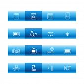 Blue bar household appliances icons