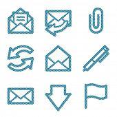 Blue line e-mail contour icons V2