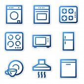 Household appliances icons, blue contour series