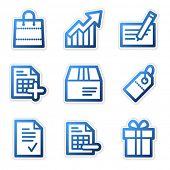 Shopping icons, blue contour series