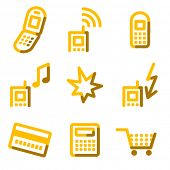 Mobile phone icons, gold contour series