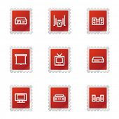 Audio video icons, red stamp series