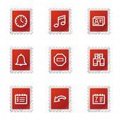 Organizer icons, red stamp series