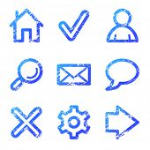 Web icons, blue grunge series