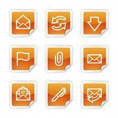 E-mail web icons, orange glossy sticker series