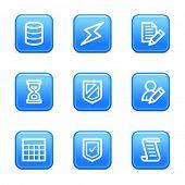 Ícones da web de banco de dados, azul brilhante série de botões