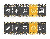 Постер, плакат: Основные веб иконки на серый и оранжевые точки баре Векторный файл имеет слои все иконки в двух версиях я