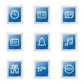Organizer web icons, blue glossy stamp series