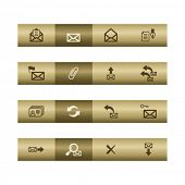 E-mail web icons on bronze bar. Vector file has layers, all icons in two versions are included.