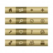 Basic web icons on bronze bar. Vector file has layers, all icons in two versions are included.