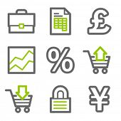 E-business web icons, green and gray contour series
