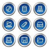 Drives and storage web icons, blue electronics buttons series