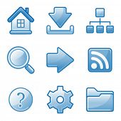 Basic web icons, blue alfa series