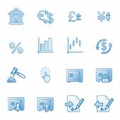 Finance web icons, blue series