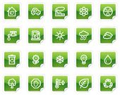 Ecology web icons, green sticker series