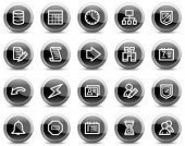 Database web icons, black glossy circle buttons series