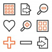 Image viewer web icons, orange and gray contour series