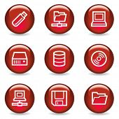Drives and storage web icons, red glossy series