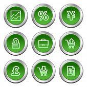 Los iconos de la web de E-business, círculo verde botones serie