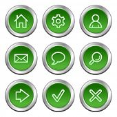 Basic web icons, green circle buttons series
