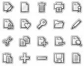 Document web icons, grey sticker series