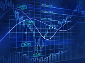 stock photo of stock market data  - 3D blue background with abstract stock diagrams - JPG