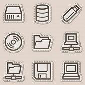 Drives and storages web icons, brown contour sticker series