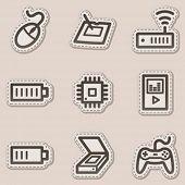 Electronics web icons set 2, brown contour sticker series