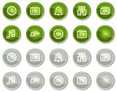Organizer web icons, green and grey circle buttons series