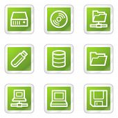Drives and storage web icons, green square sticker series