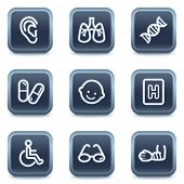 Medicine web icons set 2, mineral square buttons series