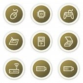 Electronics web icons set 2,  brown circle buttons series