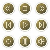 Walkman web icons, brown circle buttons series