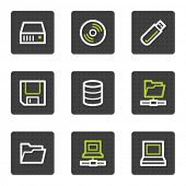 Drives and storage web icons, grey square buttons series